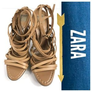 Zara Collection Leather Chunky Strappy Sandals
